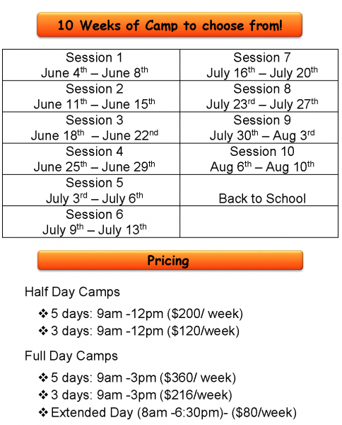 Summer Camp Sugarland Schedule